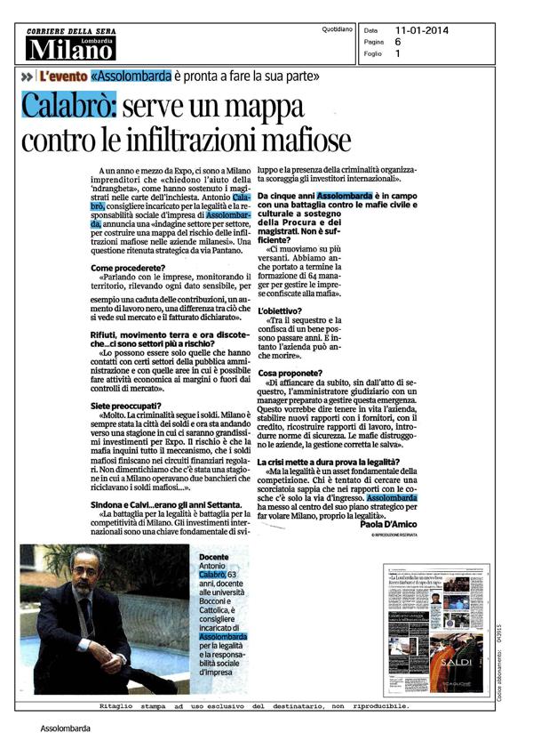 Articolo Corriere Sera - 11 gennaio 2014
