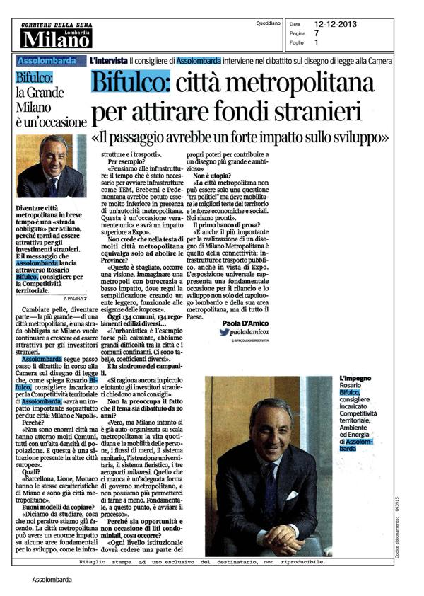 Articolo Corriere della Sera - 12 dicembre 2013